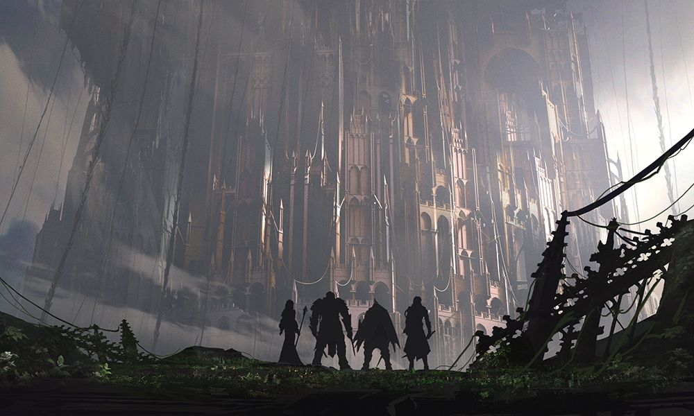 Babylon's Fall - four characters in front of a giant tower