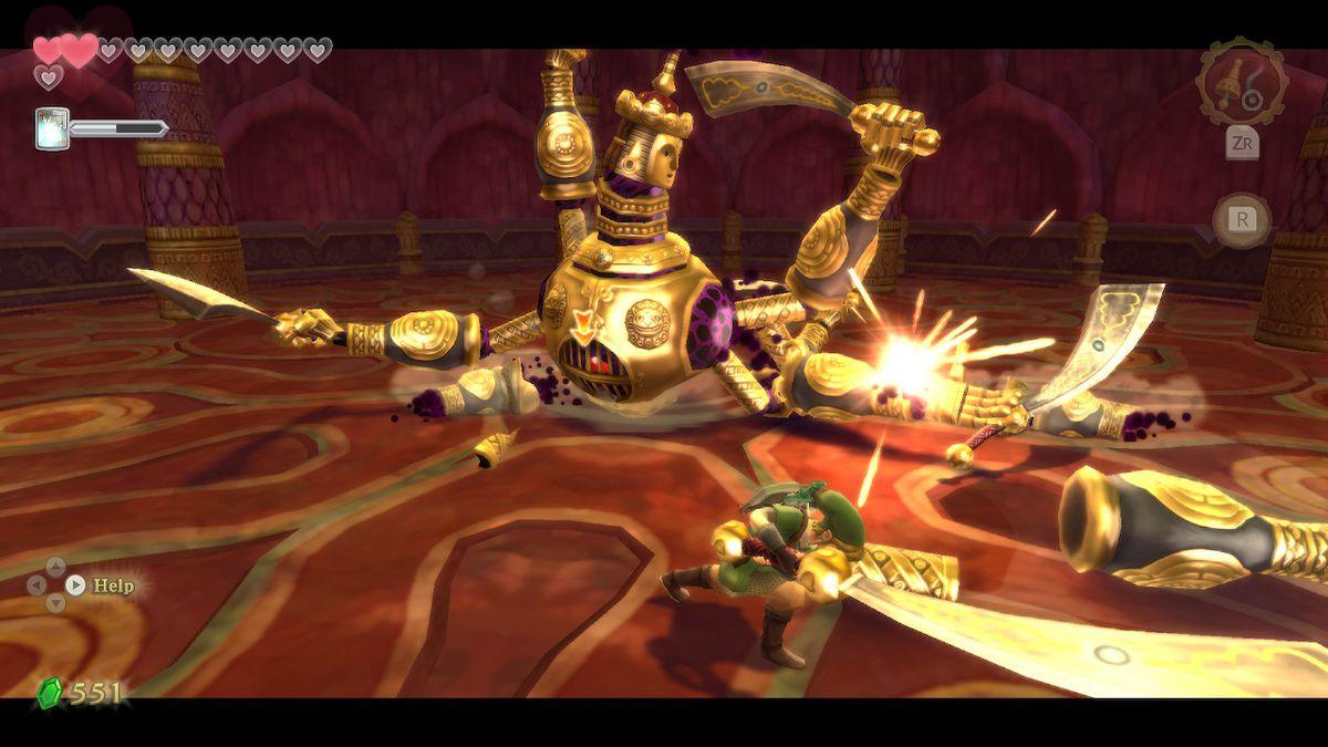 The Ancient Automaton Koloktos boss battle in The Legend of Zelda: Skyward Sword HD