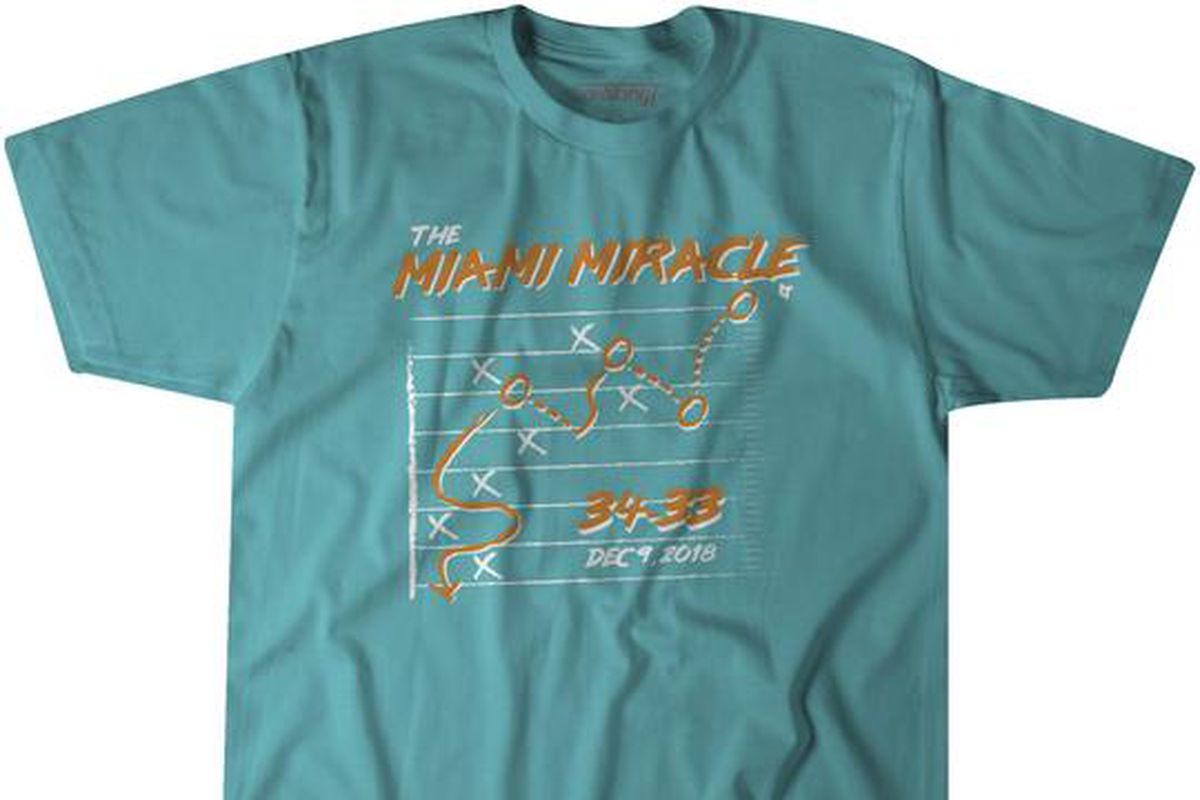 649649de The 'Miami Miracle' is now a T-shirt and hoodie for Dolphins fans to ...