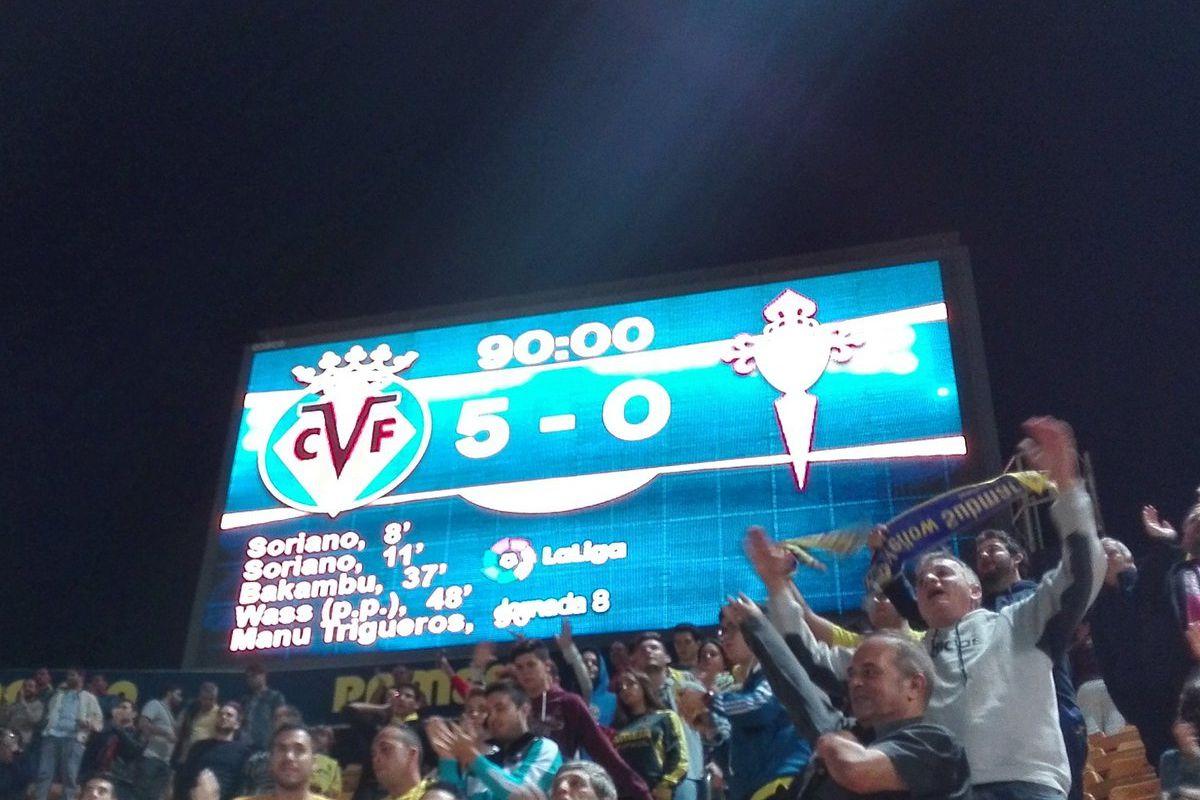 Full-time scoreboard at El Madrigal