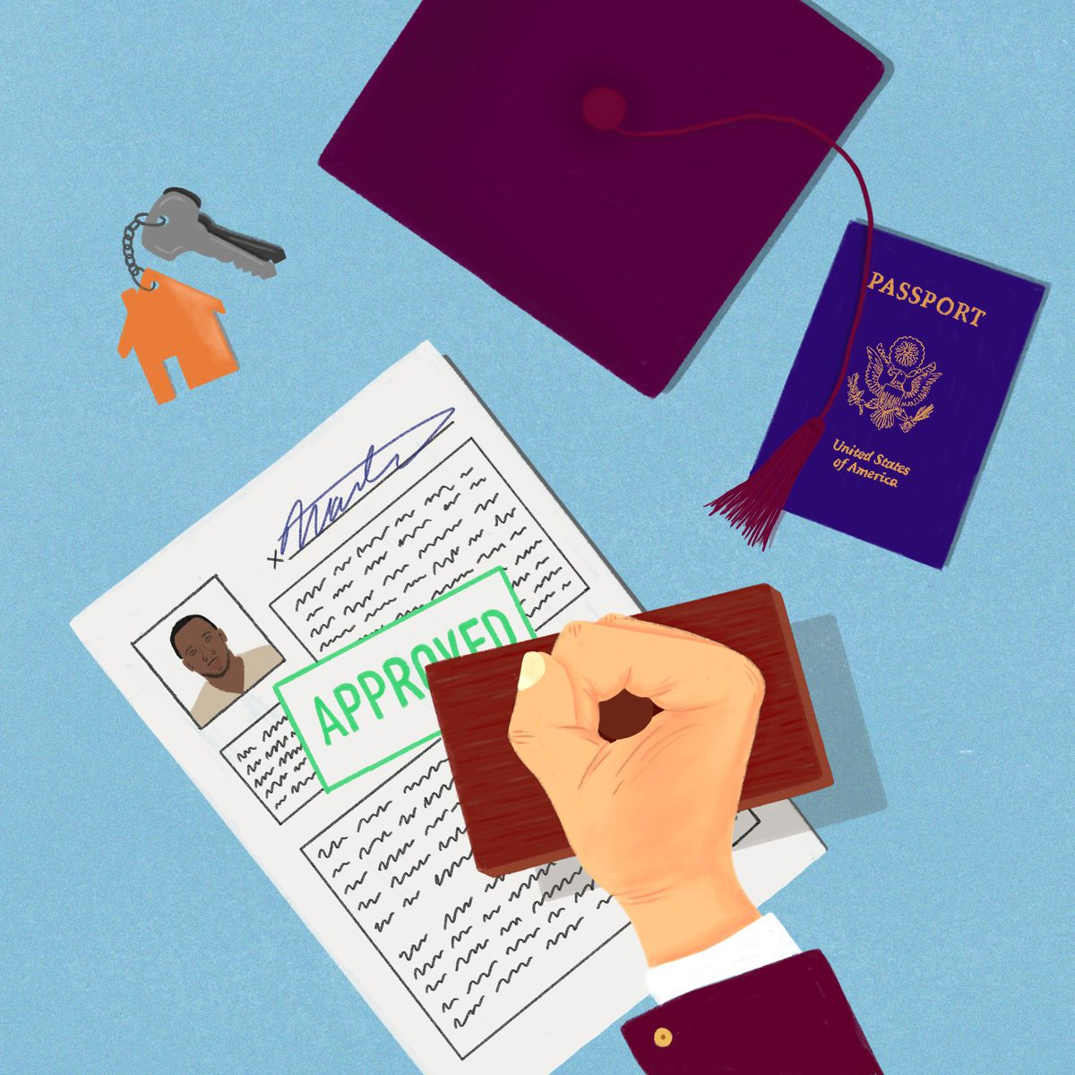 A hand stamps an immigration form next to a graduation hat, a set of house keys, and an American passport