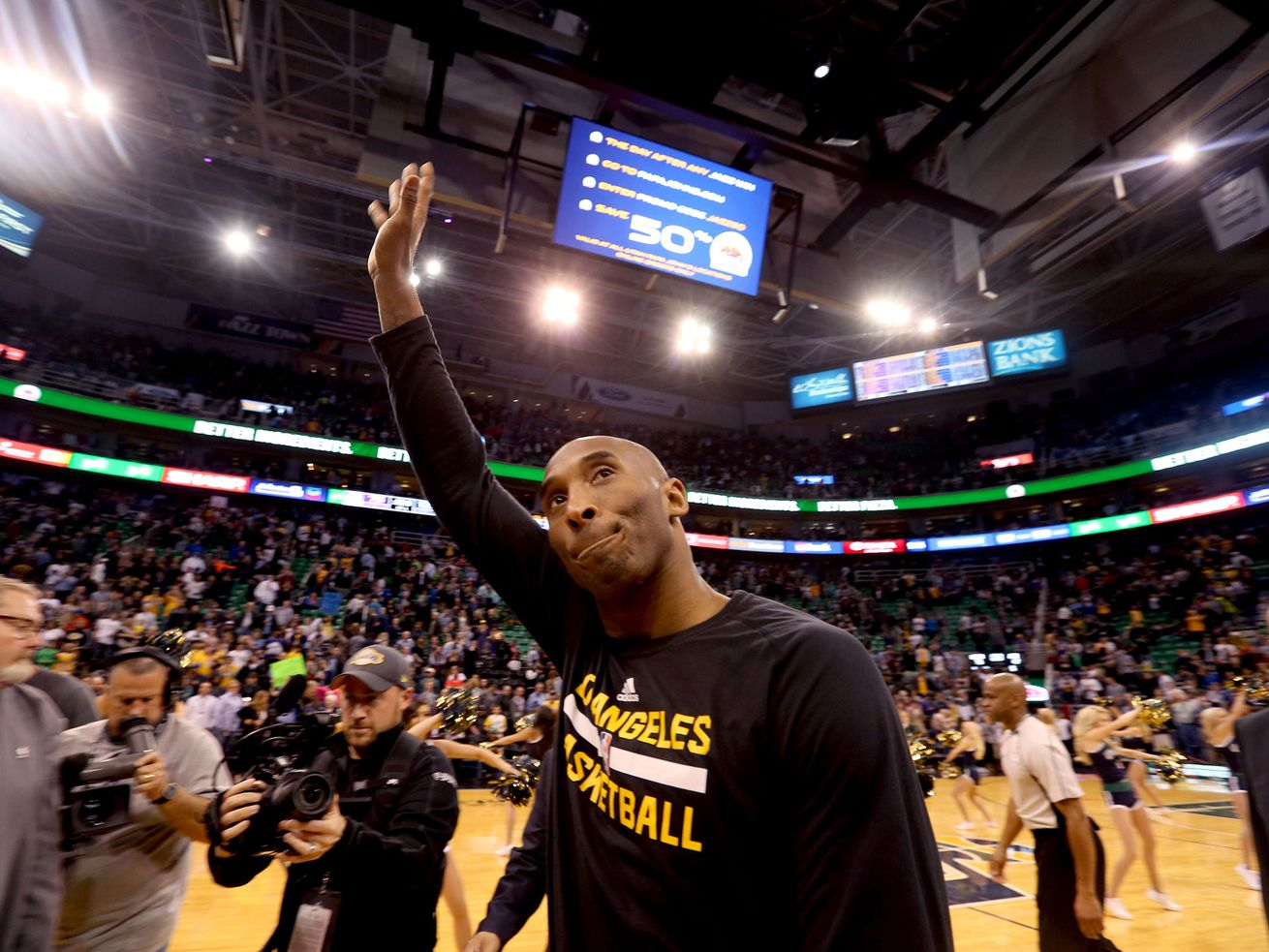 Los Angeles Lakers star Kobe Bryant exits the Vivint Smart Home Arena after the Lakers lost to the Utah Jazz in Salt Lake City on Monday, March 28, 2016.