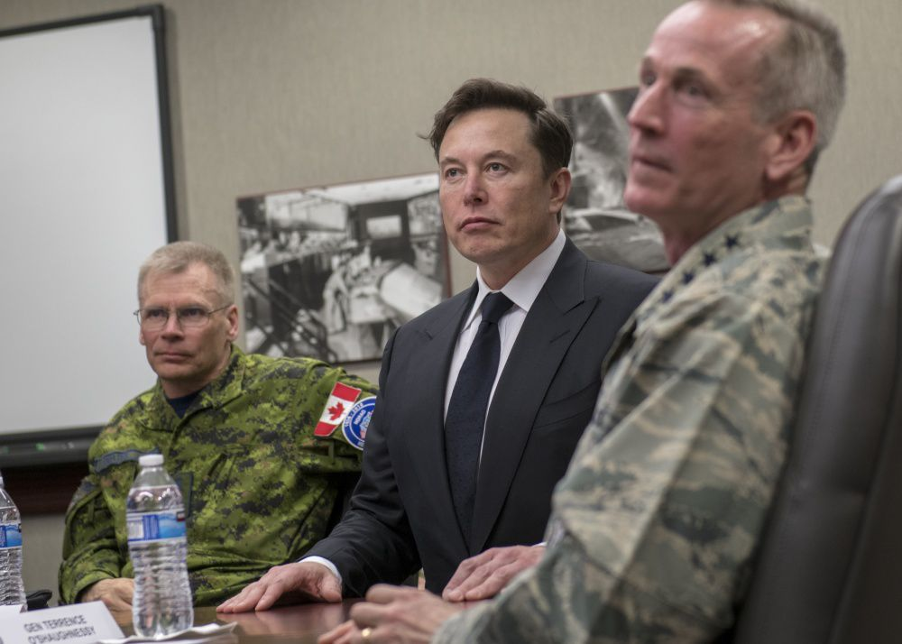 SpaceX CEO Elon Musk NORTHCOM and NORAD commander Ret. Gen. Terrence O'Shaughnessy (right) and Royal Canadian Air Force Lieutenant General Christopher Coates