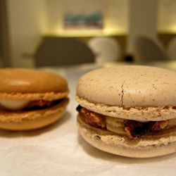 """Pecan Pie and Candied Bacon with Maple Cream Cheese Macarons from the Macaron Parlour by <a href=""""http://www.flickr.com/photos/scottlynchnyc/8117651976/in/pool-eater"""">Scoboco</a>"""