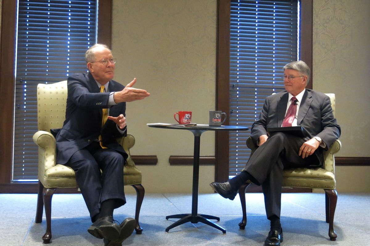 From left: U.S. Sen. Lamar Alexander (R-Tenn.) speaks with former Nashville superintendent Jesse Register about the Every Student Succeeds Act.