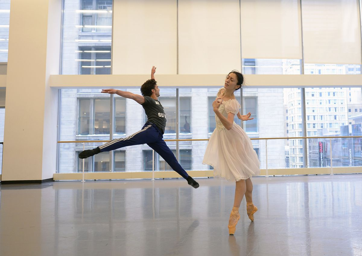 """Joffrey Ballet dancers Alberto Velazquez (as Vronsky) and Victoria Jaiani (as Anna) rehearse the upcoming production of """"Anna Karenina."""""""