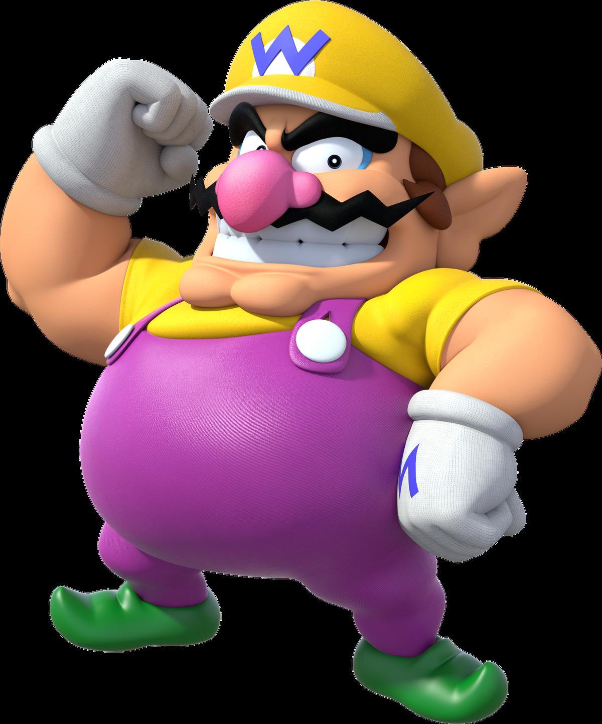 wario wearing a purple jumpsuit