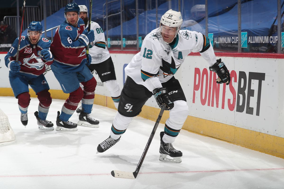 Patrick Marleau #12 of the San Jose Sharks skates against the Colorado Avalanche at Ball Arena on January 26, 2021 in Denver, Colorado.
