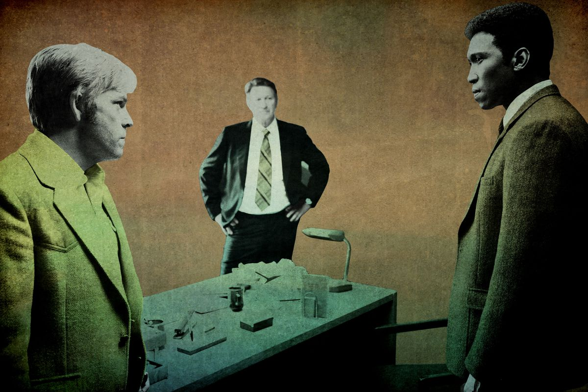 Three characters standing around a table in 'True Detective' Season 3