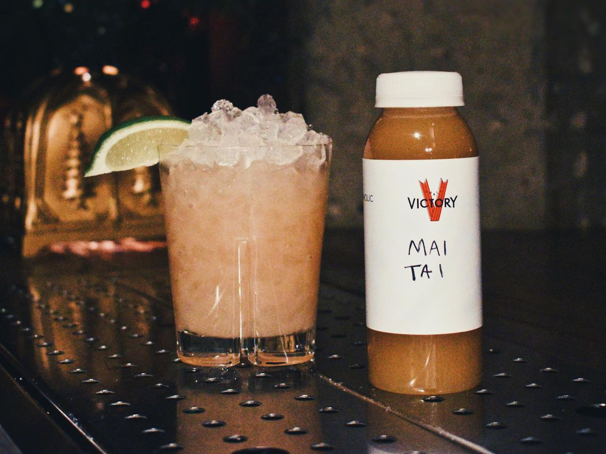 Mai tai in glass and bottle form at Small Victory