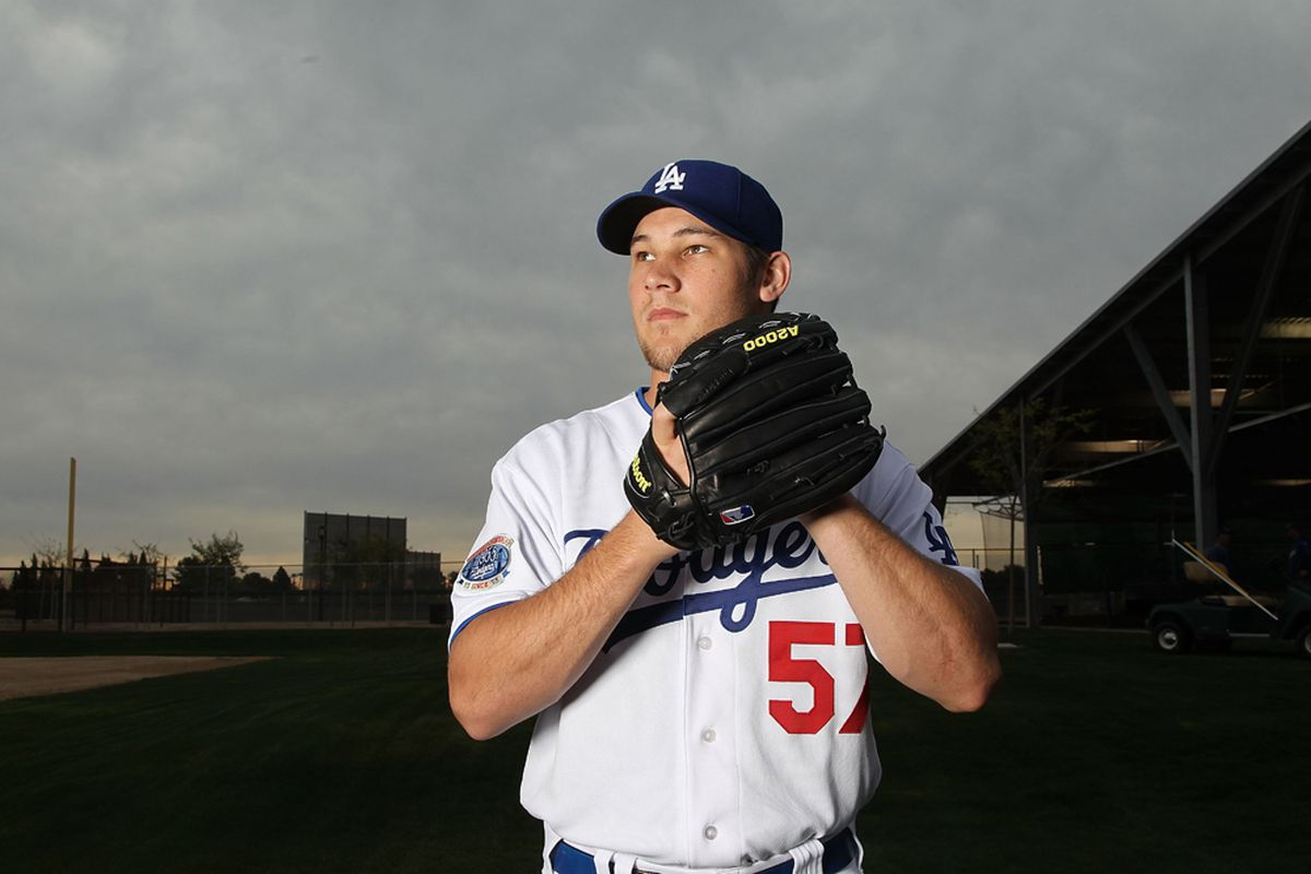 Scott Elbert will need to stop walking people or his future with the Dodgers will be as gloomy as the sky in this photo (<em>Jed Jacobson | Getty Images Sport</em>)