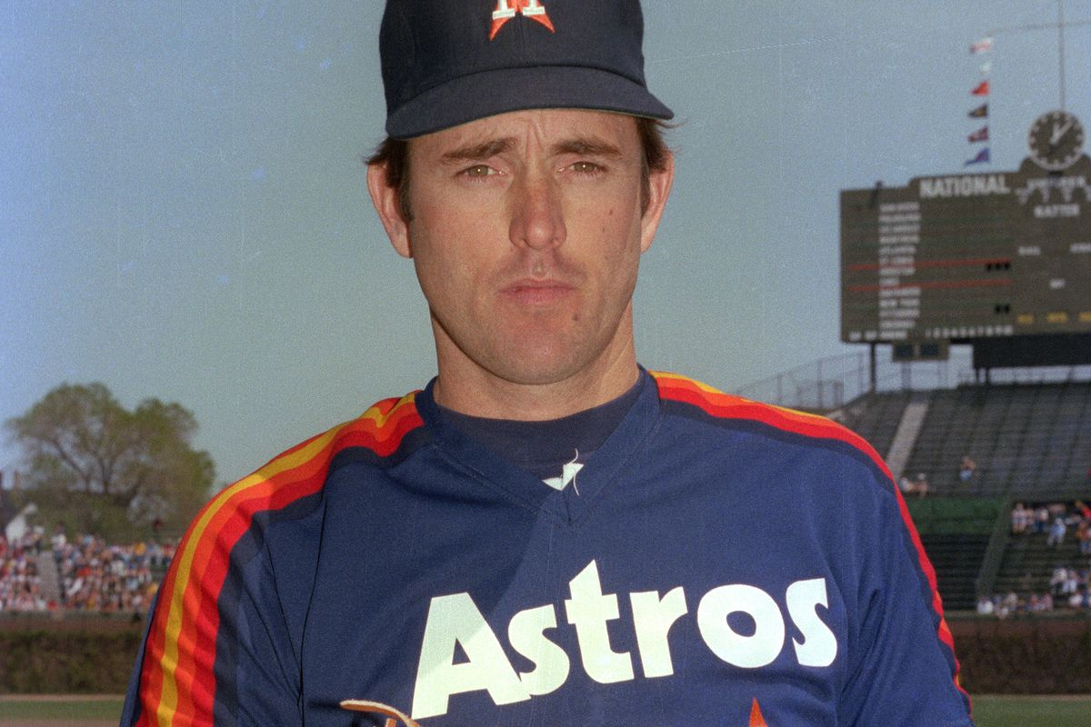 Nolan Ryan of the Houston Astros poses prior to a MLB game at Wrigley Field in Chicago, Illinois. Ryan played for the Houston Astros from 1980 to 1988.