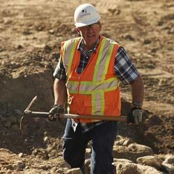 Richard Talbot, director of the Office of Public Archaeology at Brigham Young University, helps direct excavation efforts on the Provo baptistry.
