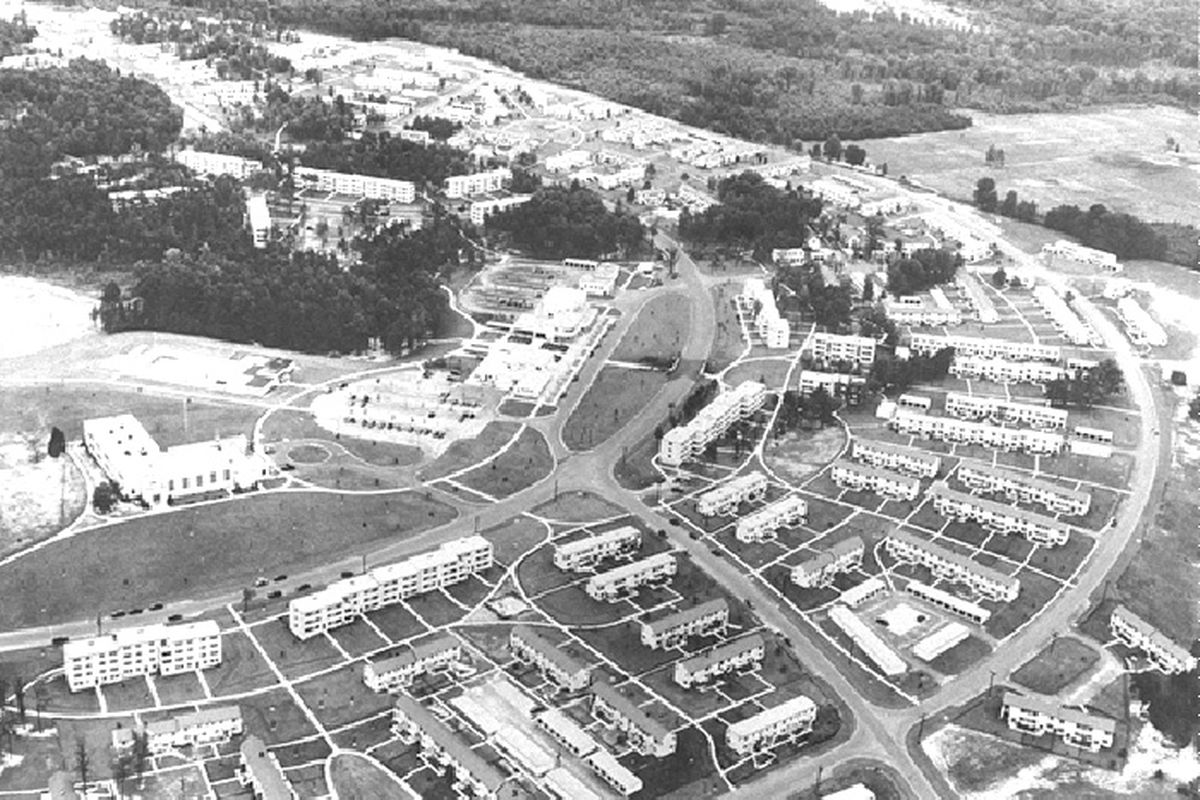 An aerial view of Greenbelt, Maryland.