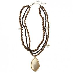 Beaded Wood Necklace with Gold Pendant $19.99