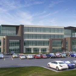 A rendering of Jive Communication's new headquarters in Pleasant Grove. The 11-year-old Utah company, which specializes in cloud-based business communication tools, is adding 200 employees this year. The new building, currently under construction, will be ready in spring, 2018.