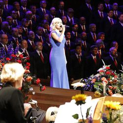 Guest artist Katherine Jenkins performs with Mormon Tabernacle Choir and Orchestra at Temple Square during July 19, 2012 dress rehearsal for Pioneer Day Concert.