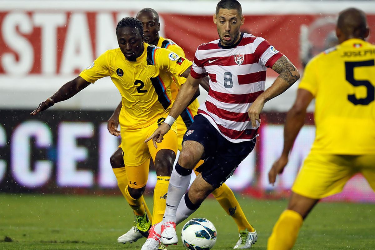 TAMPA, FL - JUNE 08:  Forward Clint Dempsey #8 of Team USA advances the ball against Team Antigua and Barbuda during the FIFA World Cup Qualifier Match at Raymond James Stadium on June 8, 2012 in Tampa, Florida.  (Photo by J. Meric/Getty Images)