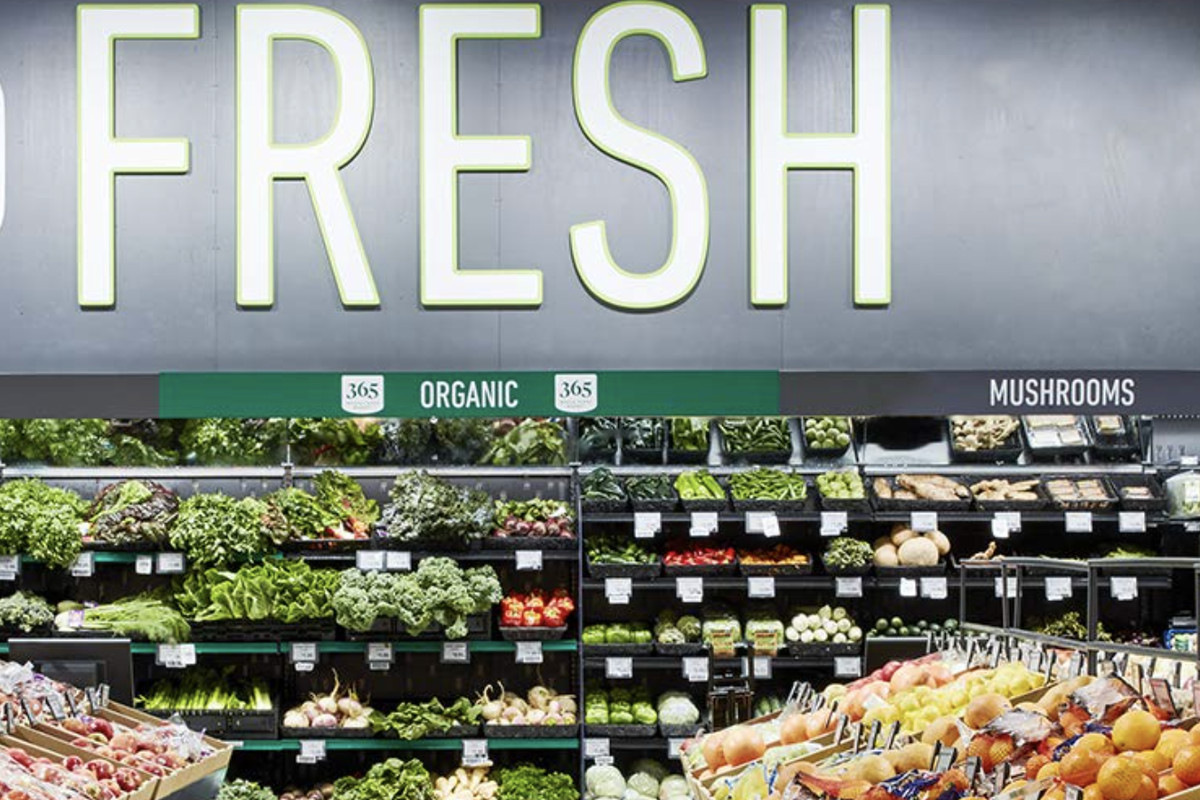 The produce section at an Amazon Fresh grocery story