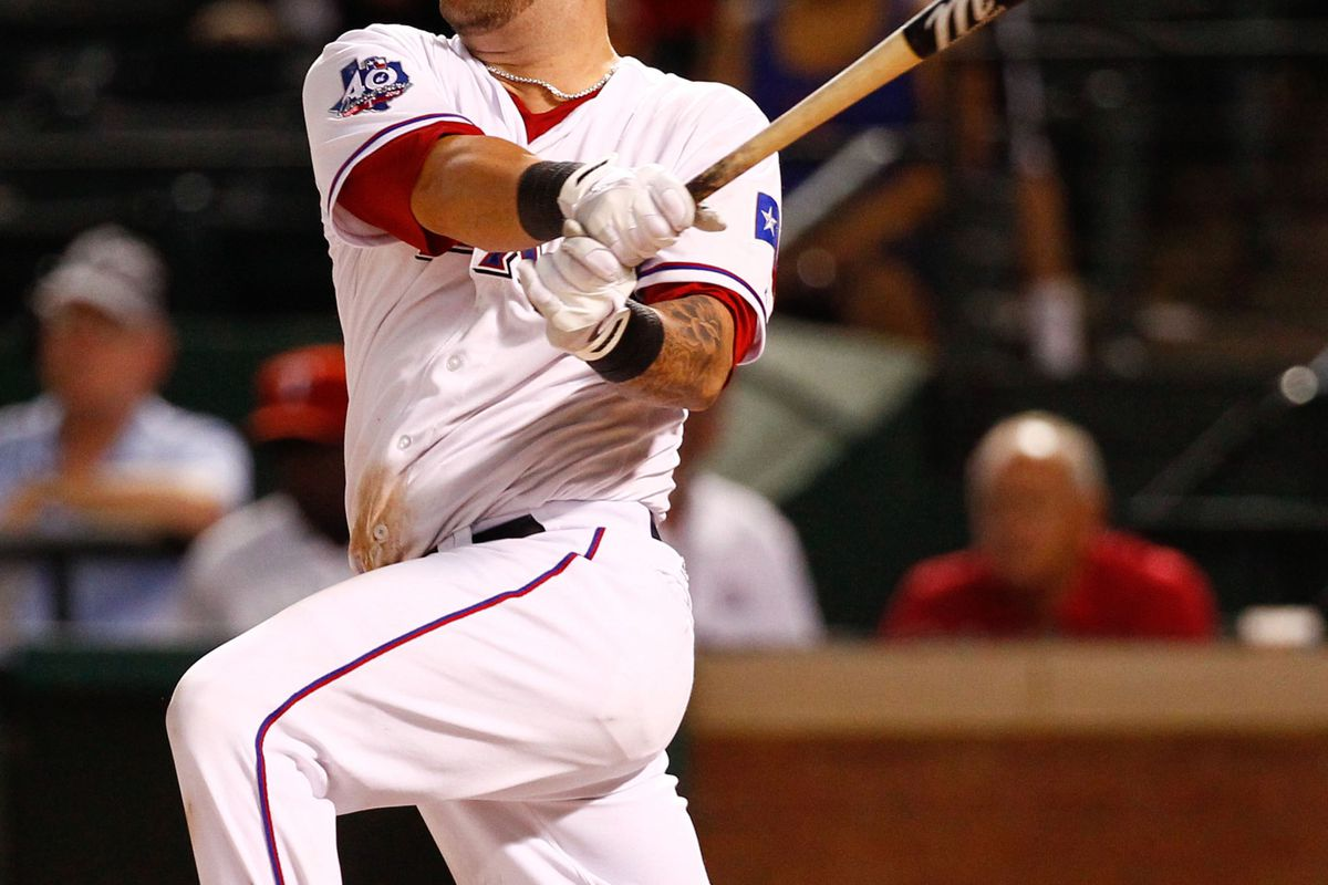 August 1, 2012; Arlington, TX, USA; Texas Rangers catcher Mike Napoli (25) during the game against the Los Angeles Angels at Rangers Ballpark in Arlington. The Rangers won 11-10 beating the Angels. Mandatory Credit: Jim Cowsert-US PRESSWIRE