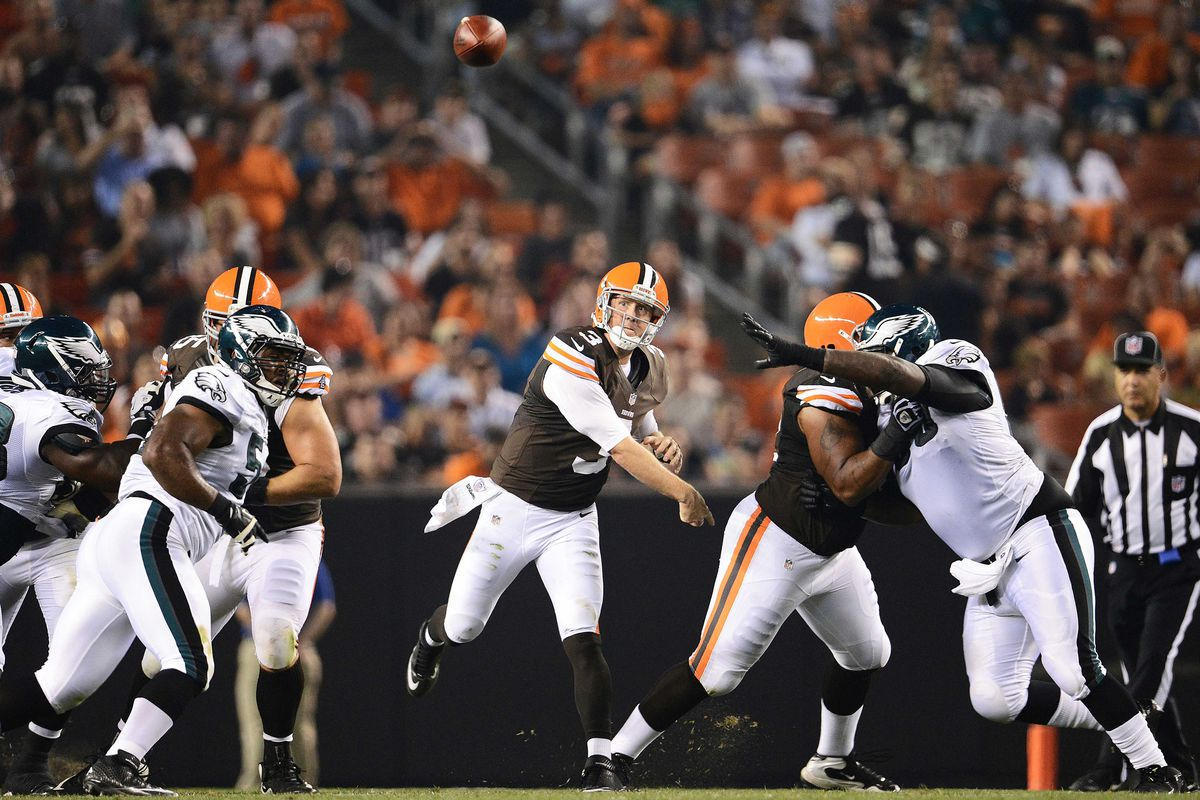 August 24, 2012; Cleveland, OH USA: Cleveland Browns quarterback Brandon Weeden (3) throws a pass during the first half against the Philadelphia Eagles in a preseason game at Cleveland Browns Stadium.  Mandatory Credit: Eric P. Mull-USPRESSWIRE