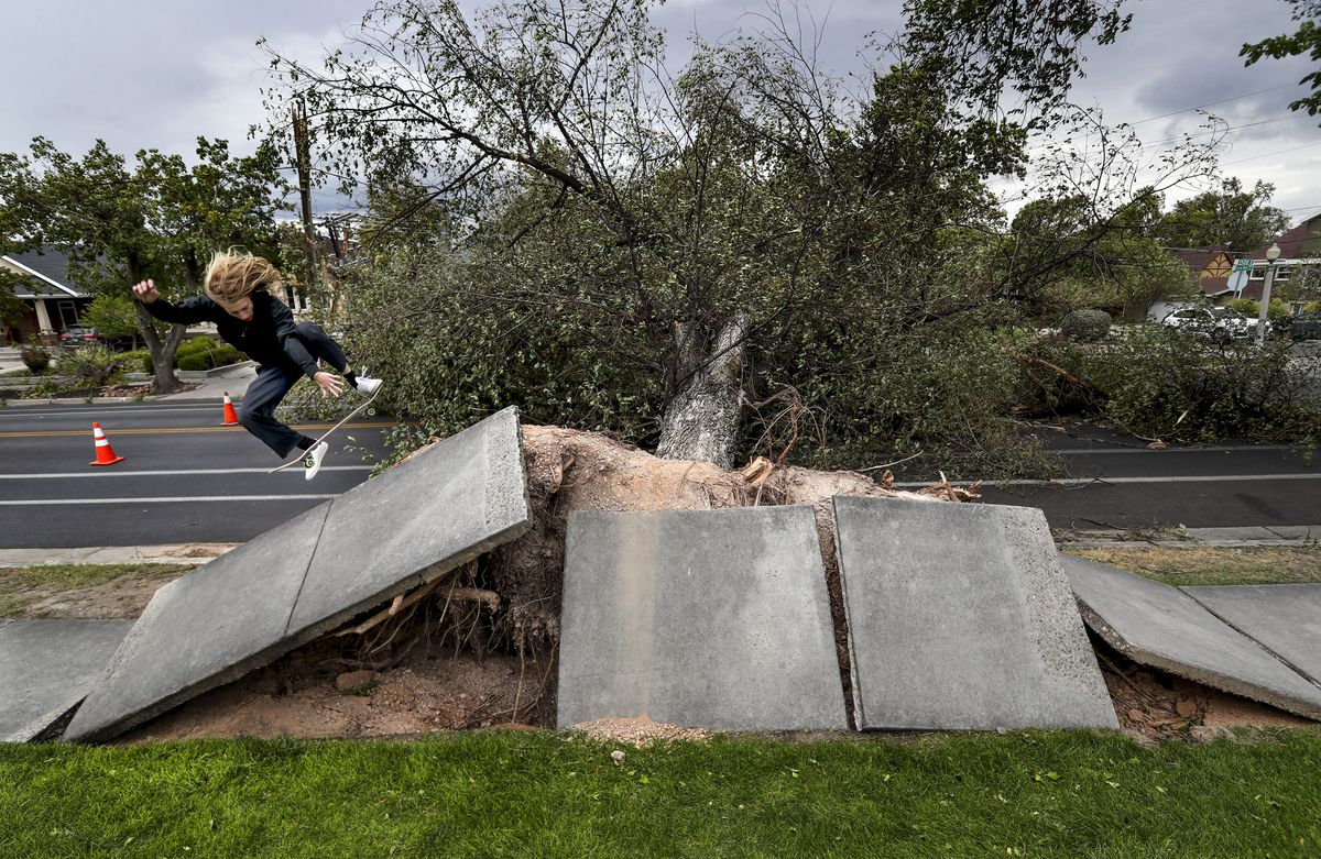 Nick Lee does a flip turn on his skateboard off a large piece of sidewalk that was lifted up after high winds toppled a large tree on 1500 East and 1300 South in Salt Lake City on Tuesday, Sept. 8, 2020.