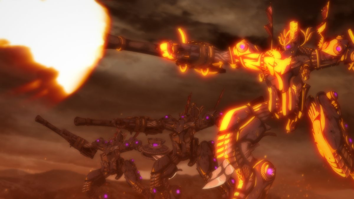 A towering armored mech suit fires a volley of projectiles off-screen.