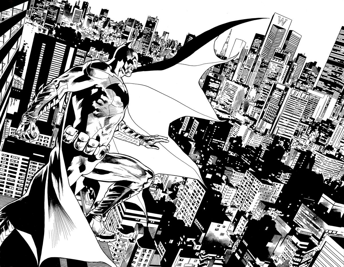 Batman stands on a windswept rooftop over Gotham City in a double page spread from The Batman's Grave, DC Comics (2019).
