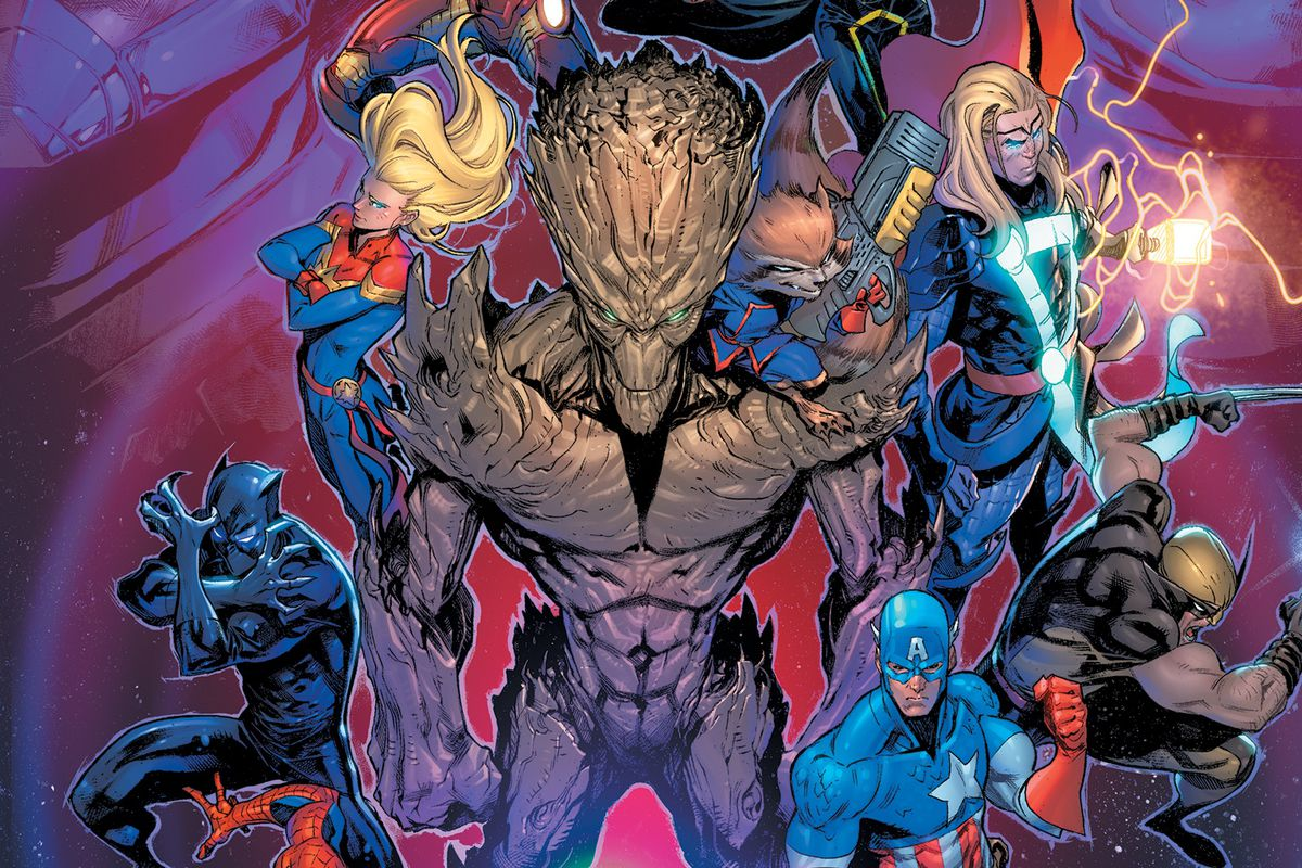 Cover art of the Marvel Multiverse Playtest Rulebook, featuring heroes Groot, Rocket Raccoon, Spider-Man, Captain America, Black Panther, Captain Marvel, and others.