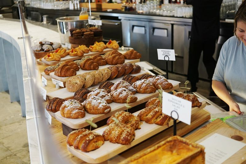 The full pastry case with croissants and more at Bon Temps restaurants in Los Angeles