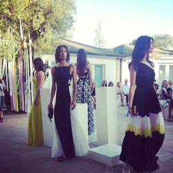 """Lubov called this the """"party portion"""" of the show. The lime green dress on the far left was inspired by a dress Max Azria custom-made for actress Sharon Stone for the Cannes Film Festival in 1994."""