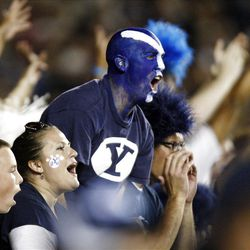 BYU fans cheer during the BYU Utah game Saturday, Sept. 17, 2011