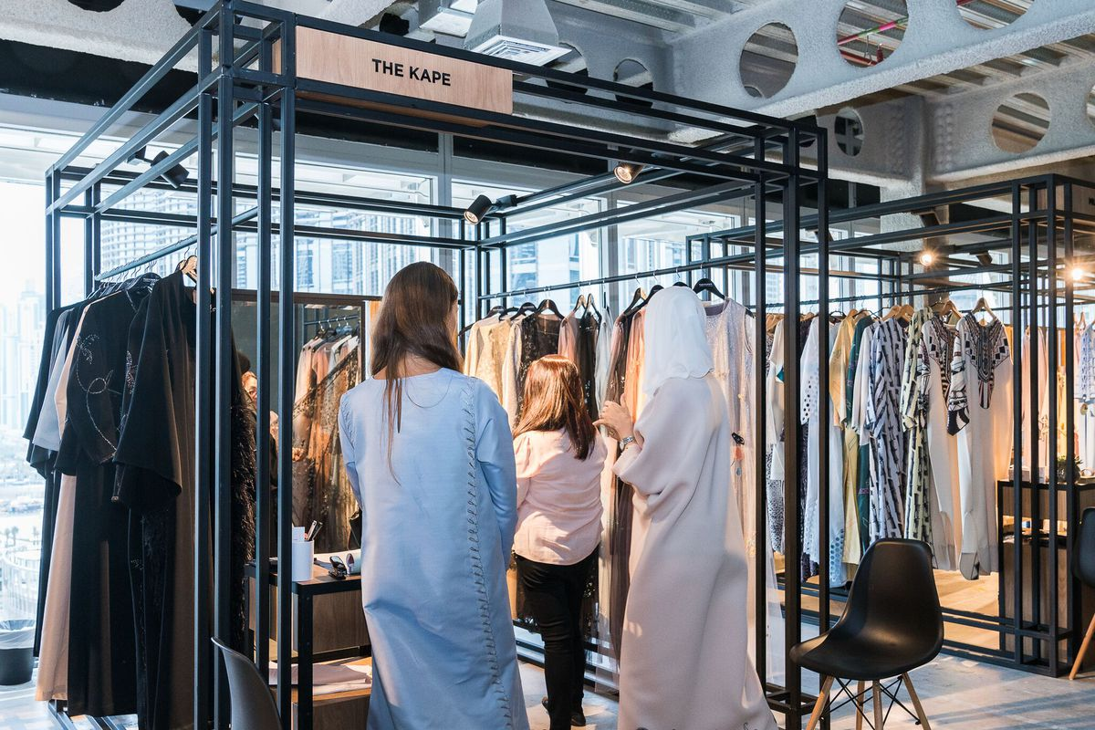 Women shop for Ramadan at booths in Symphony, an upscale boutique in Dubai