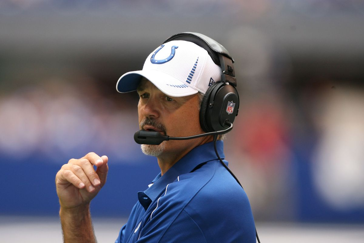 Aug 12, 2012; Indianapolis, IN, USA; Indianapolis Colts coach Chuck Pagano watches from the sidelines during a game against the St. Louis Rams at Lucas Oil Stadium. Indianapolis defeats St. Louis 38-3. Mandatory Credit: Brian Spurlock-US PRESSWIRE