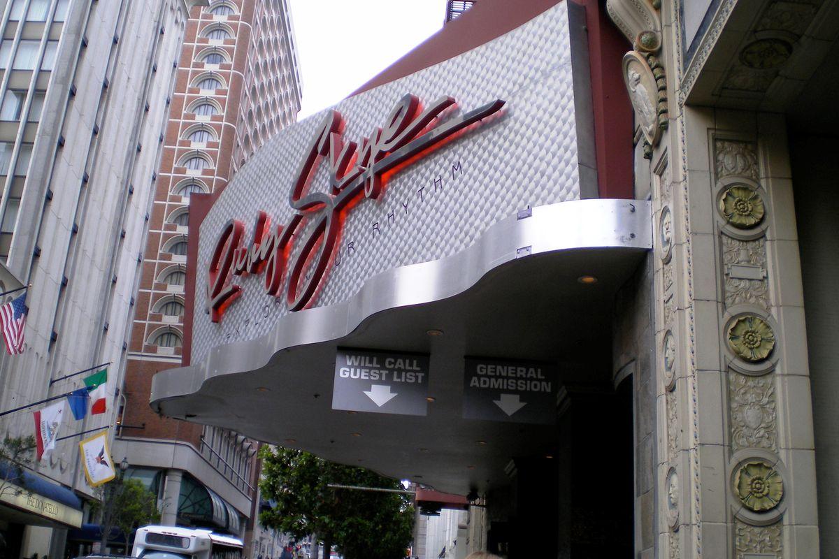 The marquee of the Ruby Skye nightclub.