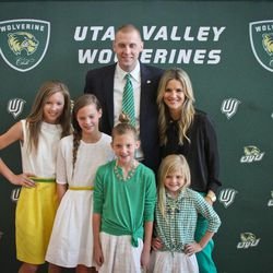 Mark Pope poses with his family during the press conference that introduced him as the new UVU coach -- wife Lee Anne, and, left to right, Ella, Avery, Layla and Shay.