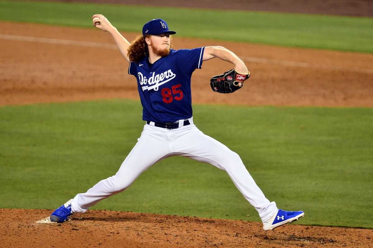 United States; Los Angeles Dodgers starting pitcher Dustin May throws during an intrasquad game at Dodger Stadium.