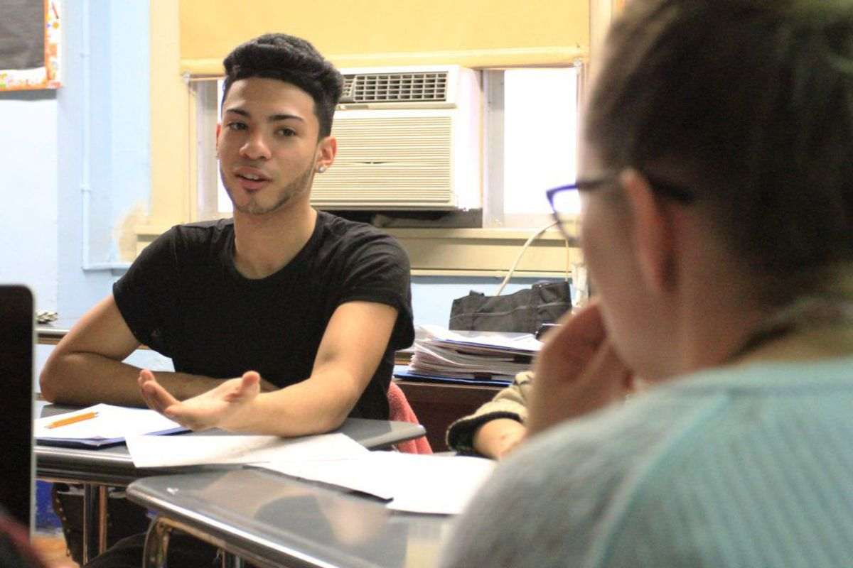 Fordham High School for the Arts junior William Carrasquillo, 16, talks about summer job and internship opportunities during his OneGoal class.