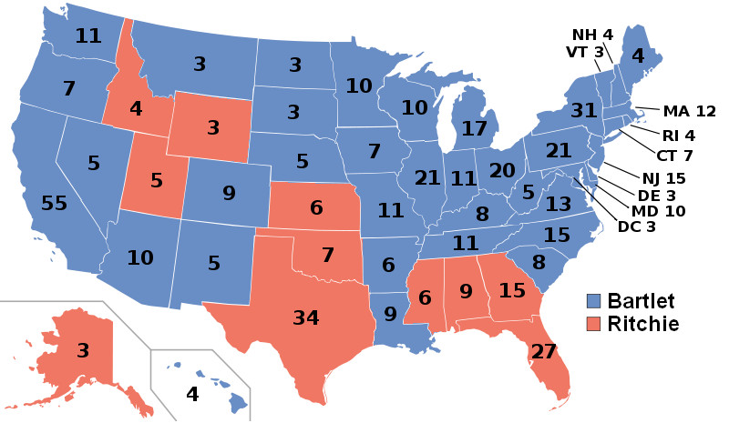 The West Wing's 2002 electoral college map