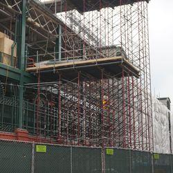 Closer view of the scaffolding on Addison Street, near the Sheffield Avenue corner