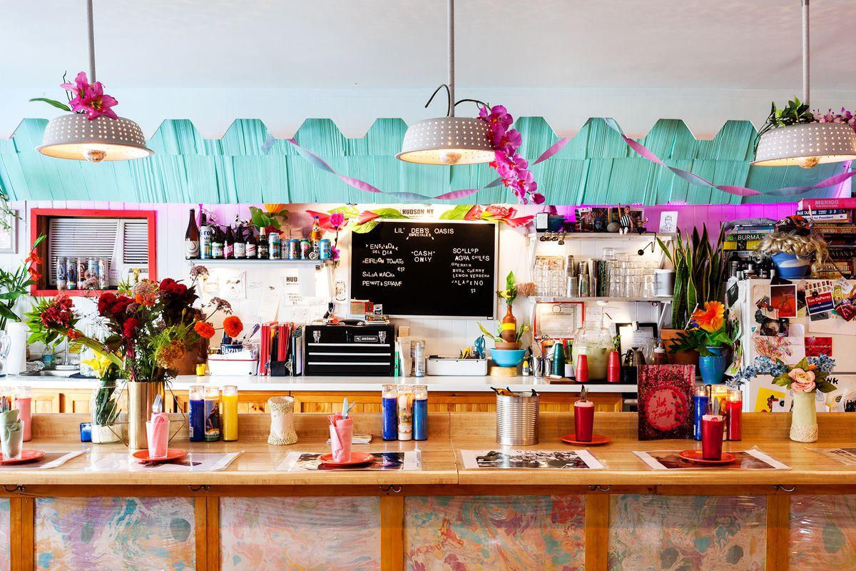 A colorful bar area