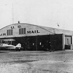 The Salt Lake Municipal Airport's U.S. Air Mail hanger is pictured in this undated photograph.
