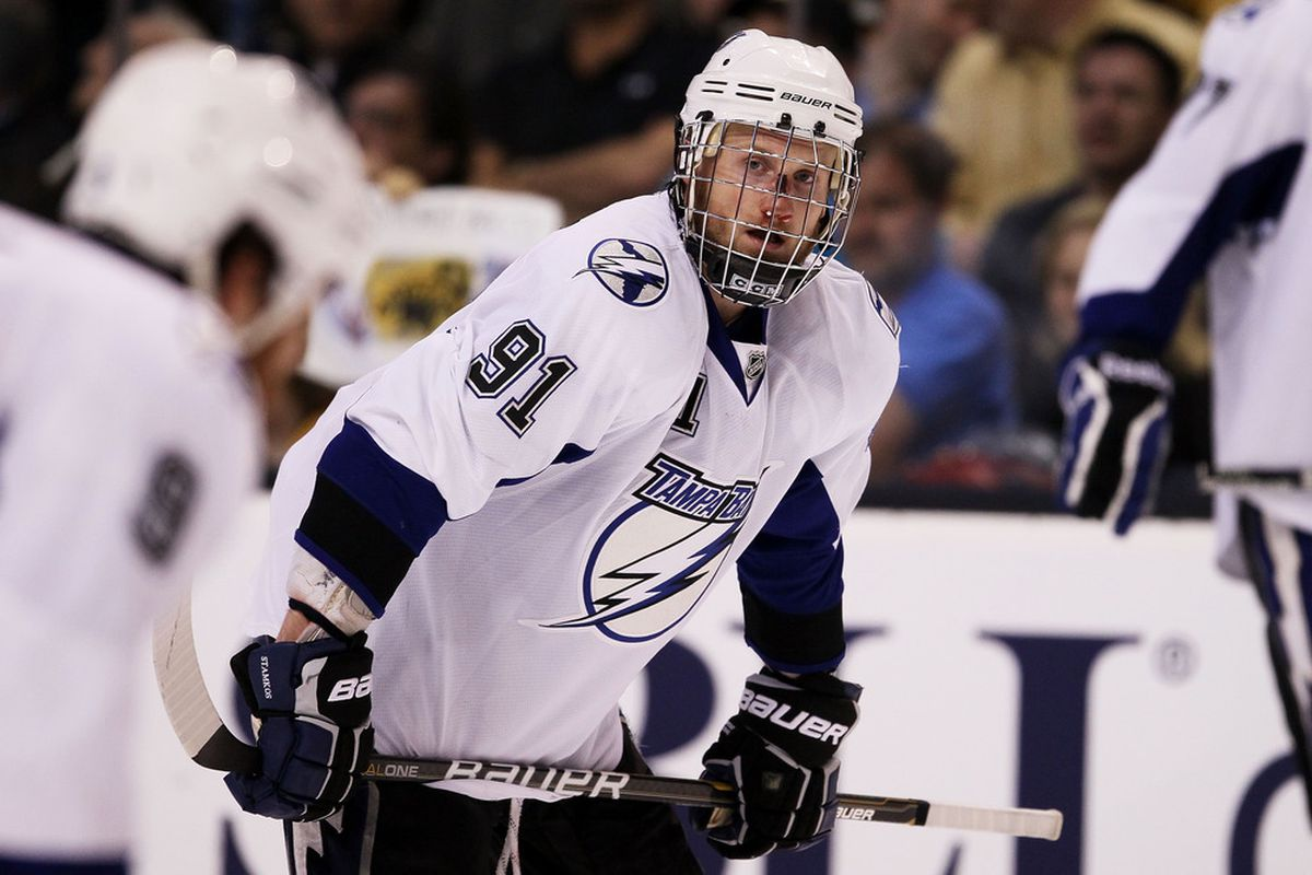 Steven Stamkos' facial injury, suffered during Game 7 of the 2011 Eastern Conference Finals, could have been much worse without his face shield (Photo by Elsa/Getty Images)