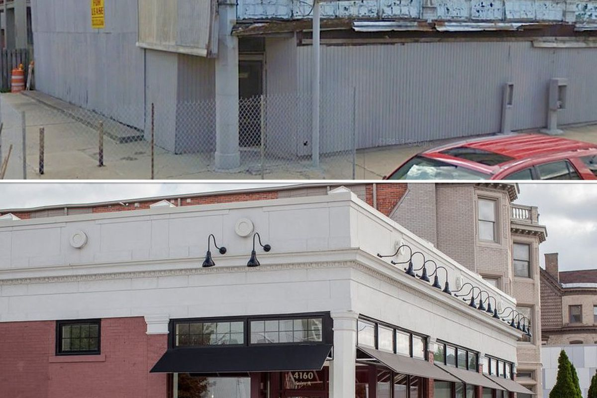 4160 Cass as it looked in 2009 compared to 2013