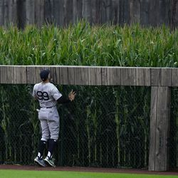 Yankees right fielder Aaron Judge watches a home run from the Sox' Seby Zavala fly into the outfield corn in the fourth inning.