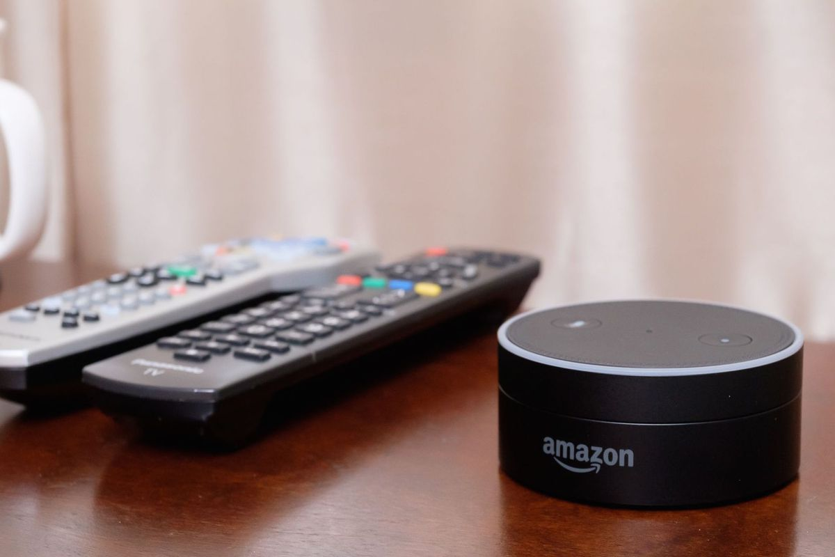 The tiny Dot is the latest in Amazon's line of voice-controlled digital assistants.