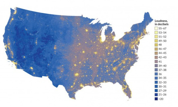 Map Here Are The Loudest And Quietest Places In America Vox - Map of the continental united states