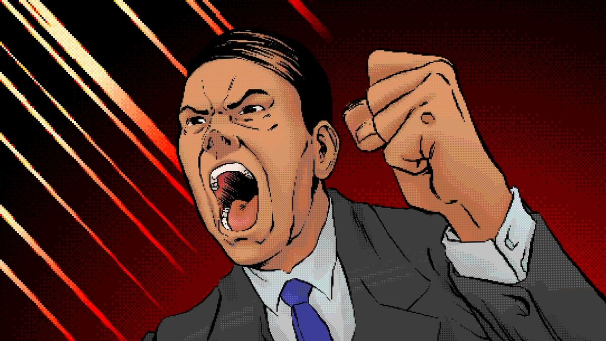 cartoon image of a Japanese executive raising his fist and yelling