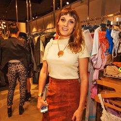 """Jewelry designer <a href=""""http://www.etsy.com/shop/RuneAccoutrements""""target=""""_blank"""">Jesse Southern</a> looking fall-ready in a sweet suede skirt-and-knit sitch."""