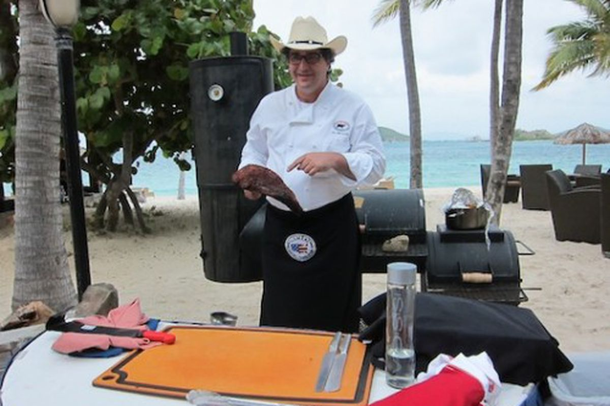 Chef Jay McCarthy shows off his meat